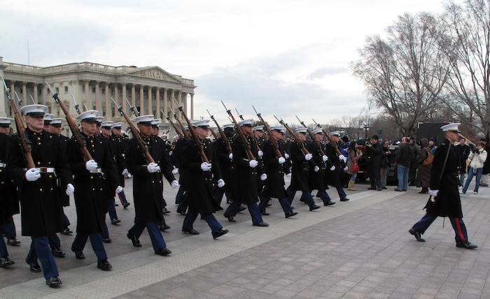 Marine Corps participants in the 56th Presidential Inaugural Rehearsal march in front of the Capitol Jan. 11 during a walkthrough of the inauguration ceremony.