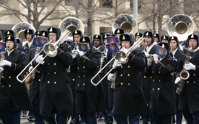 The U.S. Army Brass Band performs while marching down Pennsylvania Ave. NW during the 56th Presidential Inaugural Parade Rehearsal Jan 11.