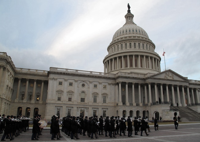 The U.S. Army Band, also known as Pershing's Own, marches in front of the Capitol Jan. 11 during the 56th Presidential Inaugural Rehearsal. ::r::::n::