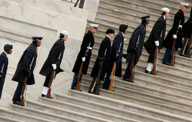 Members of the joint service cordon for the 56th Presidential Inaugural Rehearsal line the steps of the east entrance to the Capitol Jan. 11. ::r::::n::