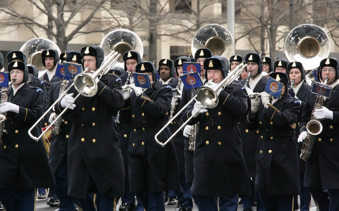 The U.S. Army Band, also known as Pershing's Own, marches down Pennsylvania Ave. NW playing various songs along the parade route of the 56th Presidential Inuagural Rehearsal Jan 11.