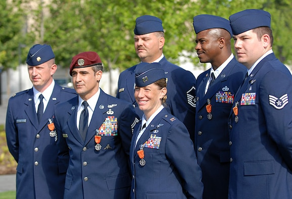 The first Combat Action Medals were awarded to six Airmen on June 12, 2007. (Front row, left to right): Maj. Steven Raspet, Senior Master Sgt. Ramon Colon-Lopez, Capt. Allison Black. Back row, left to right: Master Sgt. Byron Allen, Master Sgt. Charlie Peterson, Staff Sgt. Daniel Paxton. (U.S. Air Force photo)