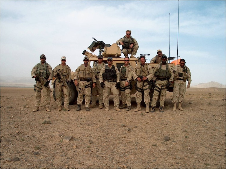 Special Forces team in Afghanistan. Tech. Sgt. Kevin Whalen is first on the left, wearing the cap now on display at the National Museum of the United States Air Force. (U.S. Air Force photo)