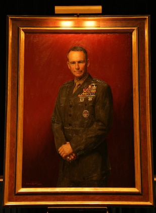 The official portrait of Gen. Peter Pace, 16th Chairman of the Joint Chiefs of Staff, was unveiled in the Pentagon Auditorium Jan. 13. The portrait was painted by Peter Egeli, a Drayden, Md., native. Pace retired from the Marine Corps Oct. 1, 2007, after more than 40 years of service.