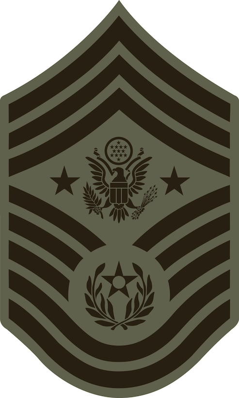 Chief Master Sergeant of the Air Force, E-9 (ABU color). This graphic is provided by Defense Media Activity-San Antonio and is 5x8.3 inches @ 300 ppi.