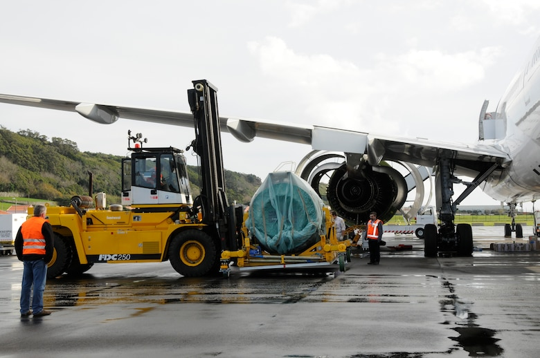 On Jan. 6, the 838th Transportation Battalion, Azores Detachment, brought their forklift down from the port in Praia to the flight line to help support Air France maintainers move a new engine, weighing 22,000 pounds, for a downed Air France 777, which diverted to Lajes Field Jan 4. Airmen from Lajes Field and members of the 838th Transportation Battalion were asked to provide support because local commercial airlines here only have lift equipment that can handle up to 15,000 pounds, did not have the capability to support Air France. (U.S. Air Force photo by Guido Melo)