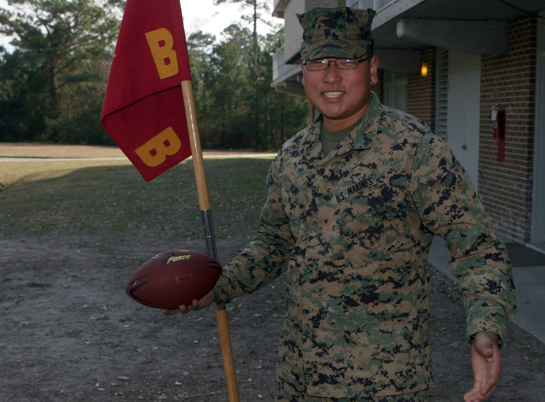 Cpl. Daniel Kim is a 22-year-old San Francisco native and crew chief with Company B, 2nd Assault Amphibian Battalion, 2nd Marine Division. He has been through the hardship of combat and answered the call of duty through life-saving heroic acts. For this, he was one of two Marines selected to attend Super Bowl XLIII festivities in Tampa, Fla., sponsored by News America Marketing.