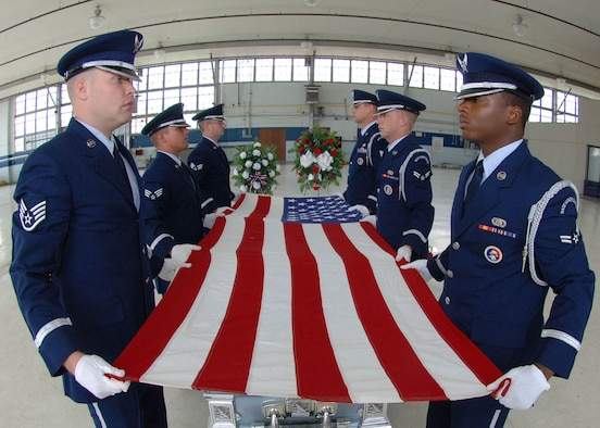 Honor Guard members train long hours to ensure flawless ceremonies for family members. Clockwise from left are Staff Sgt. Michael Duggie, Senior Airman Craig Wytiaz, Senior Airman Shawn Smith, Staff Sgt. Danial Salkowski, Airman 1st Class Robert Joyce, and Airman 1st Class Isaac Garden. (Courtesy photo)