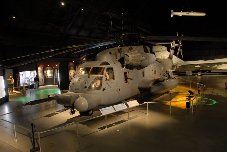 DAYTON, Ohio - The Warrior Airmen exhibit, including the MH-53, on display in the Cold War Gallery at the National Museum of the U.S. Air Force. (U.S. Air Force photo)