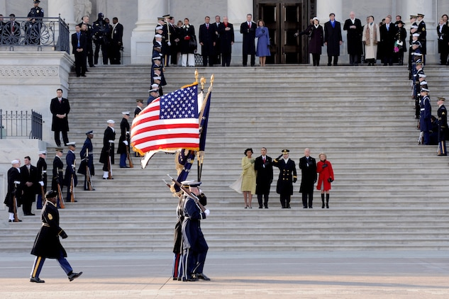 The U.S. Armed Forces Joint Color Guard passes in review at the east front of the U.S. Capitol during the 56th Presidential Inauguration Jan. 20. More than 5,000 men and women in uniform are providing military ceremonial support to the presidential inauguration, a tradition dating back to George Washington's 1789 inauguration.