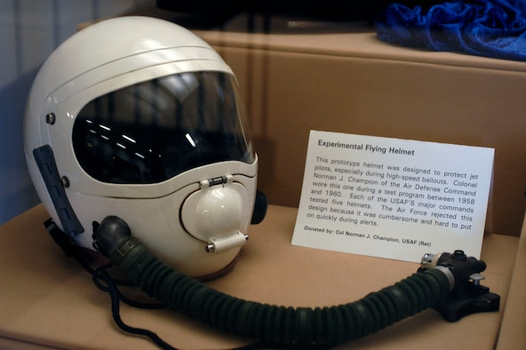 This prototype helmet was designed to protect jet pilots, especially during high-speed bailouts. Col. Norman J. Champion of the Air Defense Command wore this one during a test program between 1958 and 1960. (U.S. Air Force photo)