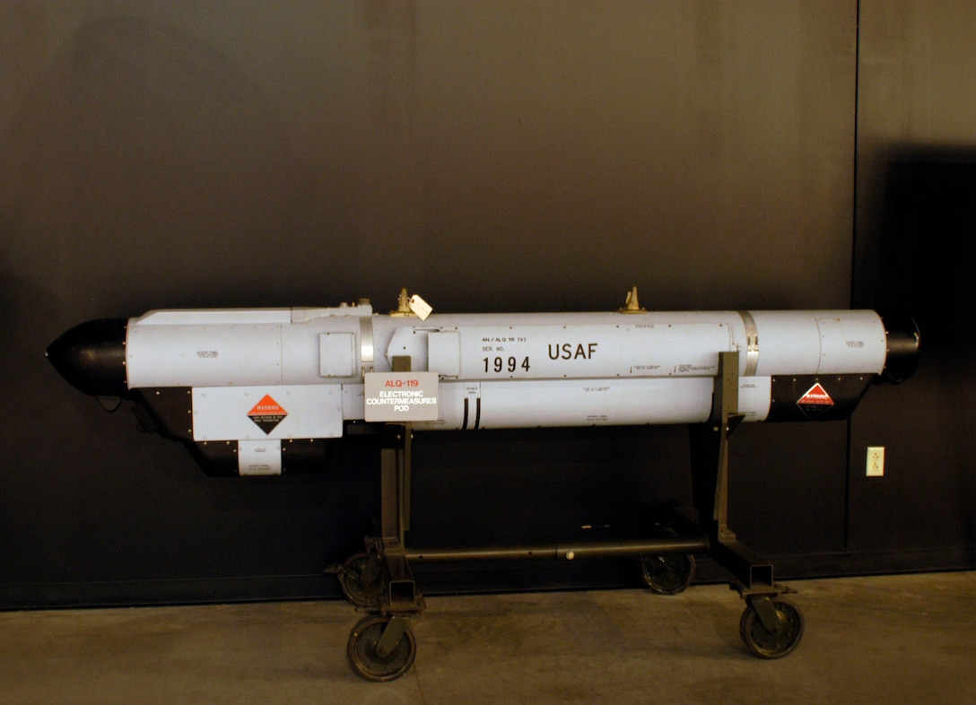 DAYTON, Ohio - The ALQ-119 Electronic Countermeasures Pod on display in the Cold War Gallery at the National Museum of the U.S. Air Force. (U.S. Air Force photo)