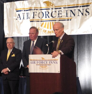 Art Myers, Air Force Services director, speaks at the annual Air Force Innkeeper Awards, November 2008, at the International Hotel/Motel Restaurant Show, New York City, NY, before presenting the Commander's Award for Public Service to Joseph McInerney and Joseph Spinnato. Mr. McInerney is president and chief executive officer of the American Hotel & Lodging Association and Mr. Spinnato is president and CEO of the Hotel Association of New York City, Inc. (Photo courtesy Military Club & Hospitality)