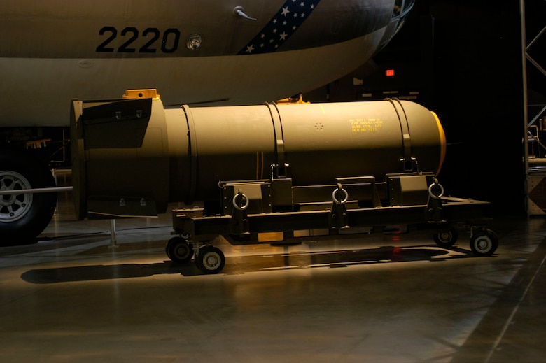 DAYTON, Ohio - The MK39 nuclear bomb on display in the Cold War Gallery at the National Museum of the U.S. Air Force. (U.S. Air Force photo)