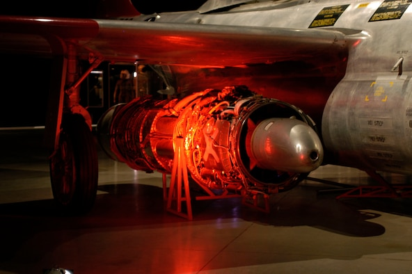 DAYTON, Ohio - The Allison J35-A-35A Turbojet engine on display beneath the F-89J in the Cold War Gallery at the National Museum of the U.S. Air Force. (U.S. Air Force photo)