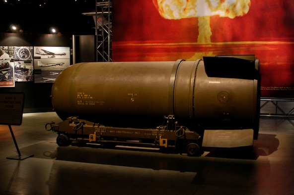 DAYTON, Ohio - The Mark 41 Thermonuclear bomb on display in the Cold War Gallery at the National Museum of the U.S. Air Force. (U.S. Air Force photo)