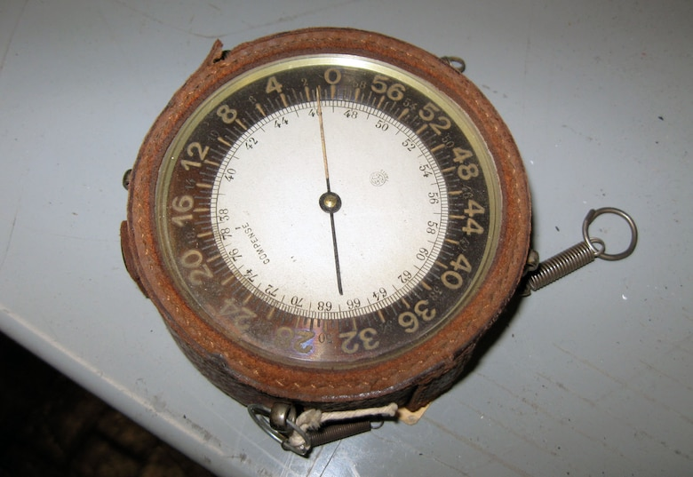 This French altimeter indicator was donated by Mr. Sol Wise, who was assigned to the French 111th Squadron as an observer. He had at least two victories and was awarded the Croix de Guerre in August 1918 and Fourragere in September 1918. (U.S. Air Force photo)