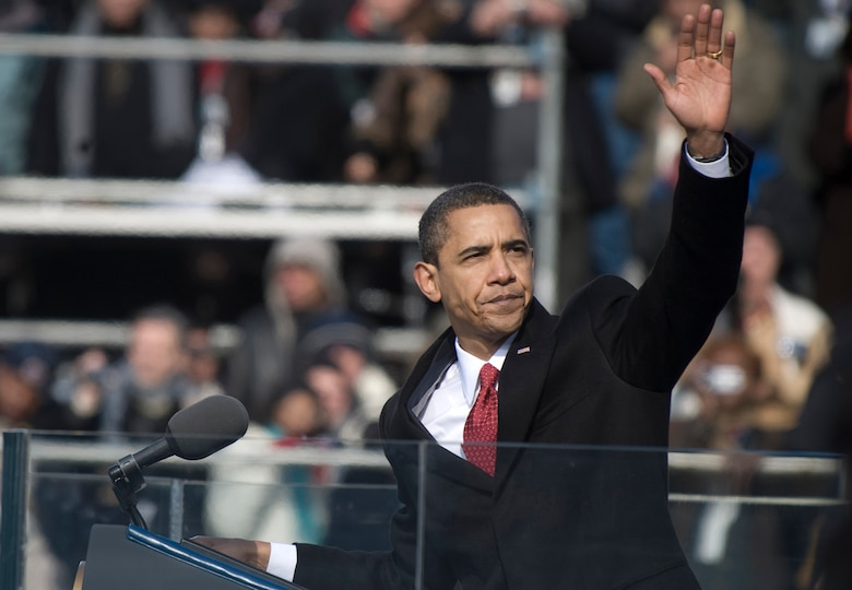 The 44th President of the United States, Barack Obama, waves to the crowd at the conclusion of his inaugural address Jan. 20, 2009, in Washington, D.C. (U.S. Navy photo/Mass Communication Specialist 1st Class Chad J. McNeeley)