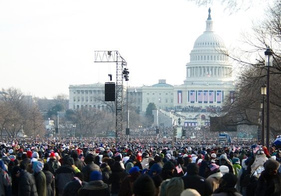 Despite temperatures in the teens, nearly two million people attended the inauguration of President Barack Obama at the U.S. Capitol on Tuesday. Attendees watched the inauguration on jumbo monitors along the National Mall between the Capitol and the Washington Monument. (Air Force photo by Scott Knuteson)