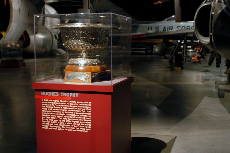 DAYTON, Ohio -- 1956 Hughes Trophy on display in the Cold War Gallery at the National Museum of the United States Air Force. (U.S. Air Force photo)