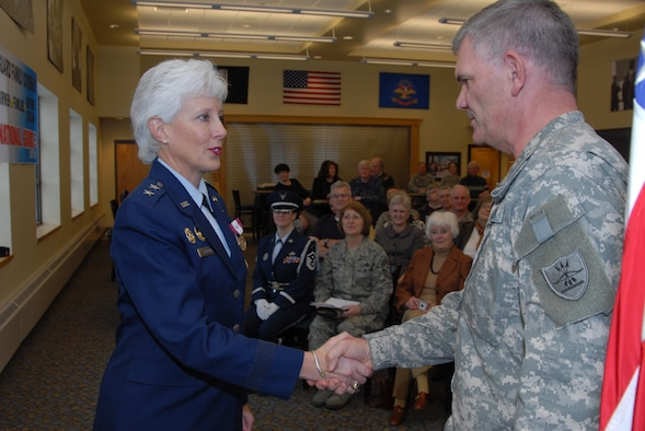 Maj.Gen. Terry L. Scherling retires after 30 years of service in the Air Force.  Scherling speaks at a retirement ceremony hosted by the 119th Wing, North Dakota Air National Guard.  The ceremony took place in the same room that she enlisted in 30 years ago when she joined the N.D. Air National Guard.