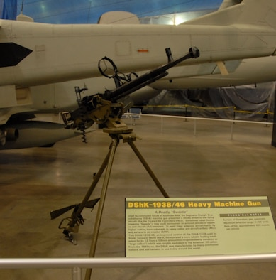 DAYTON, Ohio - The DShK-1938/46 Heavy Machine Gun on display in the Southeast Asia War Gallery at the National Museum of the U.S. Air Force. (U.S. Air Force photo)