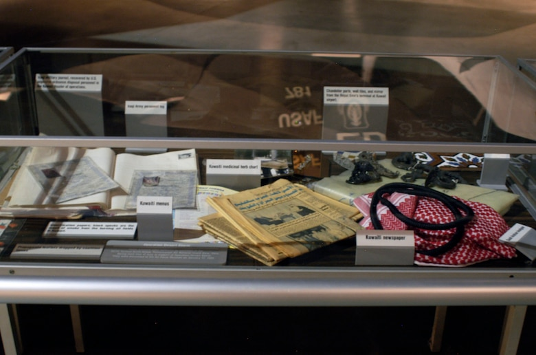 DAYTON, Ohio -- These artifacts were collected by members of the 907th Tactical Airlift Group, Rickenbacker Air National Guard Base, Ohio, during their tour of duty in support of Operation Desert Storm. (U.S. Air Force photo)