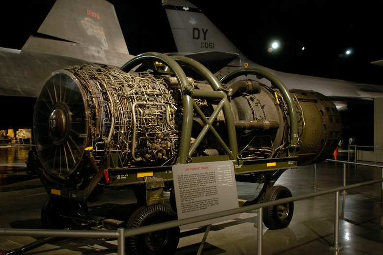 DAYTON, Ohio - The Pratt & Whitney J58 Turbojet engine on display in the Cold War Gallery at the National Museum of the U.S. Air Force. (U.S. Air Force photo)