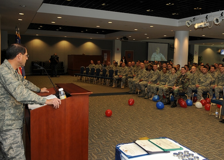 """Lt. Gen. Tom Sheridan, Space and Missile Systems Center commander, thanks and welcomes home airmen who recently returned from deployment during the opening remarks of the """"SMC Welcome Home Airmen Celebration"""" at the Gordon Conference Center, Jan. 29. (Photo by Stephen Schester)"""
