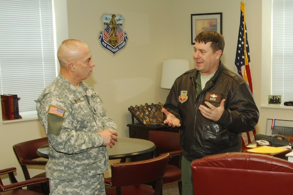 Command Sergeant Major David R. Hudson, Senior Enlisted Leader to the Chief, National Guard Bureau (left) met with Brigadier General Michael Peplinski, 127th Wing commander, during a quick visit to Selfridge Air National Guard Base January 29.  