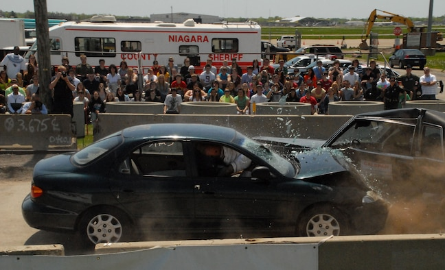 NIAGARA FALLS AIR RESERVE STATION, N.Y. -- Over 2,000 high school students from Erie, Niagara and surrounding counties participated in the 14th annual Traffic Safety Program, May 15th  here on station. The safety fair teaches students the consequences of drinking and driving and is coordinated by the Niagara County Sheriff's Department, the New York State Police and other local law enforcement and emergency agencies, with assistance from the Niagara Falls Air Reserve Station and Calspan.  (U.S. Air Force photo by Senior Airman Stephanie Clark)