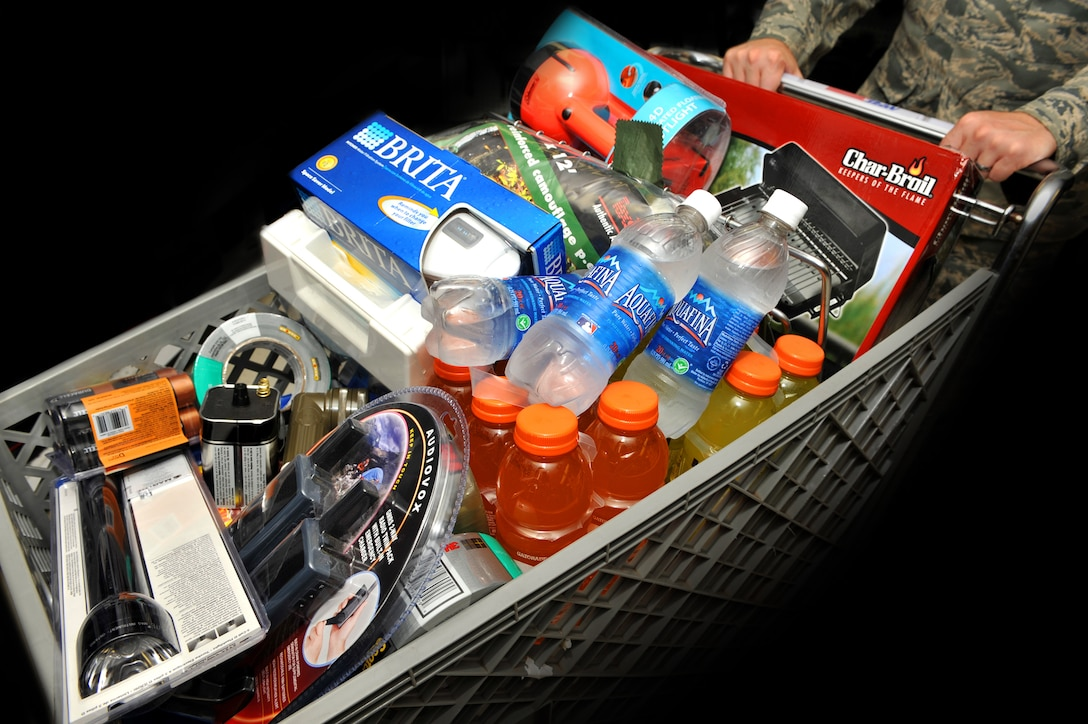 SHAW AIR FORCE BASE, S.C.--  Hurricane kits may contain: water, flashlights, batteries, radios, stable foods, first aid kits, small grills, duct tape, water filters, and any other survival necessities. (U.S. Air Force Graphic/Tech. Sgt. Josef Cole)