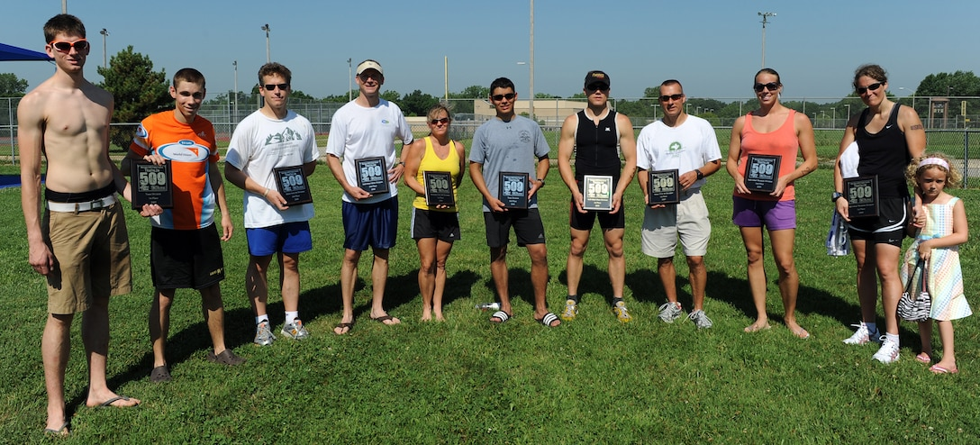 WHITEMAN AIR FORCE BASE, Mo. -  Mr. Paul Basel and 2nd Lt. Benjamin Coffman/1st place Team Category Mr. Thomas McGinnis/2nd Place Men Over 40 Category Maj. Mike Wittrock/2nd place Individual Male Category   Ms. Stacey Eggers/1st Place, Female over 40 Category    Senior Airman Estiven Gonzalez/2nd Place Team Category  Staff Sgt.  Brian Frank/1st place, Individual Male Category Capt. Alan Brown/1st place, Men Over 40 Category Tech. Sgt. Eva Graney/2nd place, Individual Female Category Master  Sgt. Heather Sells with daughter/1st place, Individual Female Category.   (U.S. Air Force photo/Senior Airman Cory Todd)