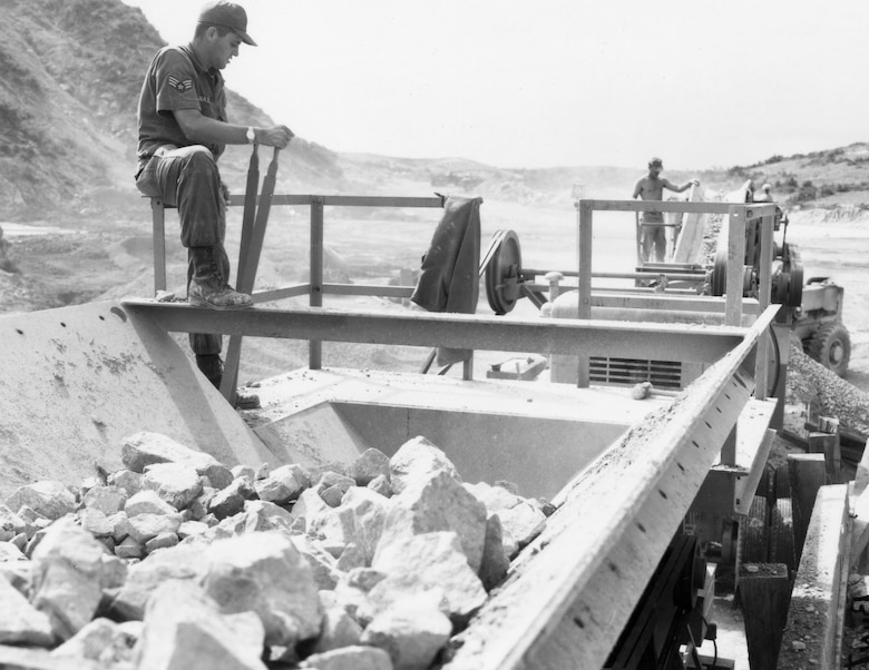 RED HORSE crews operating quarry equipment at Tuy Hoa AB, South Vietnam, in 1966. (U.S. Air Force photo)