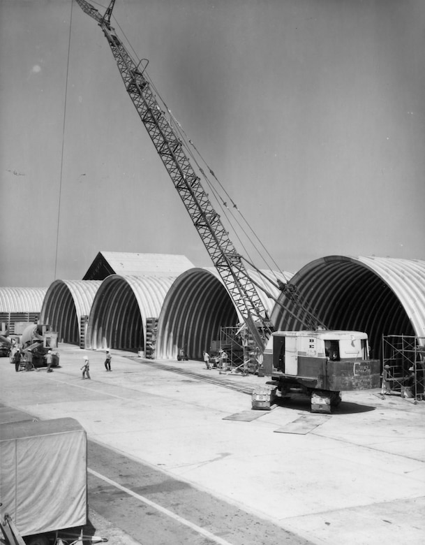 RED HORSE workers of the 820th Civil Engineering Squadron completing aircraft shelters at Da Nang AB, South Vietnam, in January 1969. These shelters housed USAF F-4 Phantoms of the 366th Tactical Fighter Wing. Eventually, RED HORSE engineers built nearly 400 aircraft shelters in Vietnam, most were covered by concrete for added protection. (U.S. Air Force photo)