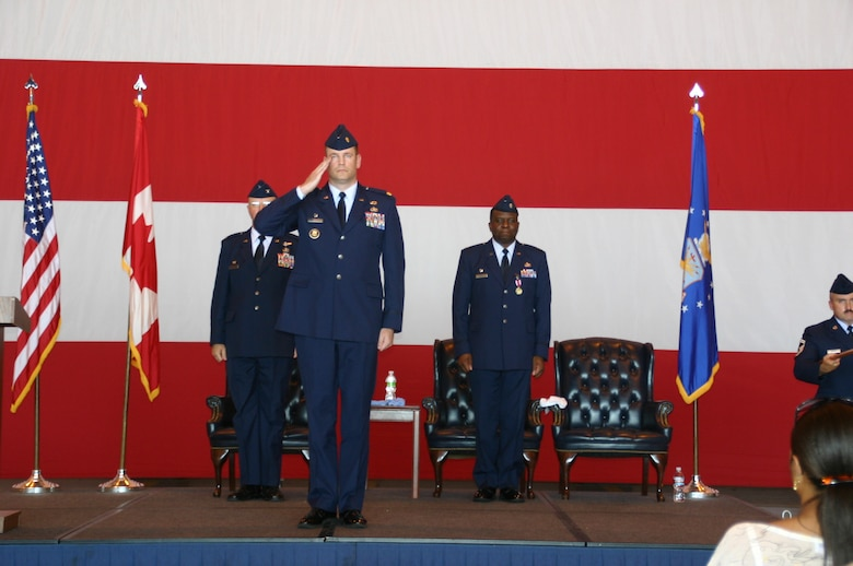 After accepting command of the 552nd Air Control Networks Squadron, Maj. John Jurgensen received his first salute from the Airmen he now leads. Photo courtesy of 1st Lt. Kinder Blacke.