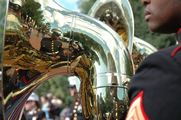 The Albany Ga., Marine Corps Band plays during the reopening ceremony for the Statue of Liberty crown, July 4. The top of the statue had been closed since the terrorist attacks of 9/11. The band plays for more than 250,000 people each year while touring the country. (Official Marine Corps photo by Sgt. Randall A. Clinton)