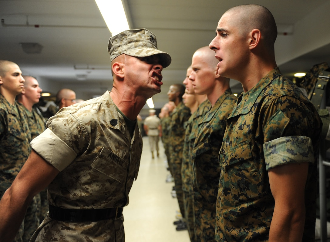 Gunnery Sgt. Shawn D. Angell is a drill instructor at the Officer Candidate School aboard Marine Corps Base Quantico, Va., dedicated to training, educating, evaluating and screening the many candidates who go through the course and turning them into Marine leaders.