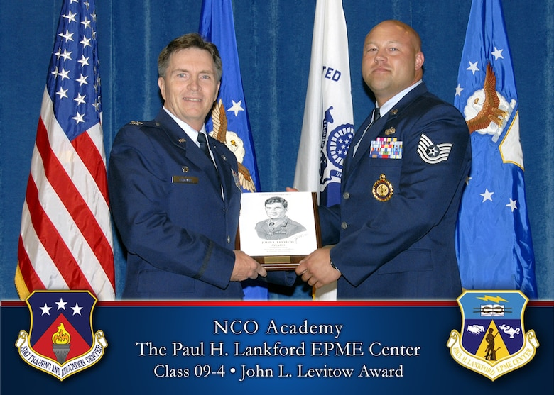Master Sgt. Andrew Raup, a recruiter with the 111th Fighter Wing, earned top graduate honors and was awarded the John L. Levitow Award during a graduation ceremony held May 20 at at the Paul H. Lankford Enlisted Professional Military Education Center, McGhee Tyson Air National Guard Base, Tenn.
