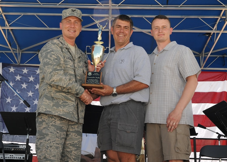 BUCKLEY AIR FORCE BASE, Colo. – Lt. Col. Delbert Jones, 460th Space Communications Squadron commander, and Master Sgt. Christopher Hart, 460th SCS satellite communication supervisor, accept the Commanders Cup from Col. Clint Crosier, 460th Space Wing commander, during the kick-off of Freedom Fest here, July 1.  The cup is given to the unit that accumulates the most points through the sports calendar year.  (U.S. Air Force photo by Senior Airman Randi Flaugh)
