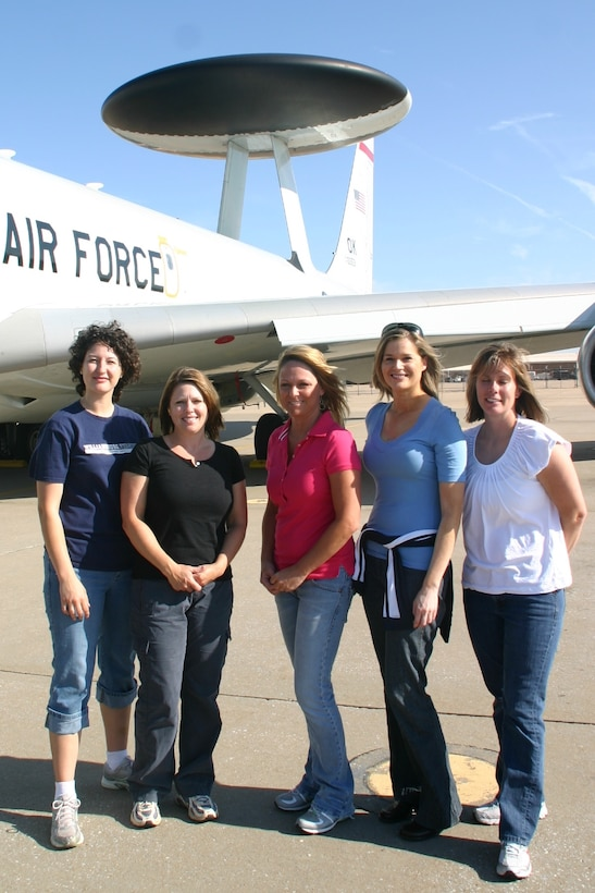 Five spouses from the 960th Airborne Air Control Squadron had the opportunity to fly on an E-3 and get an intimate look at what their husbands do every day. Photo courtesy of 1st Lt. Kinder Blacke.
