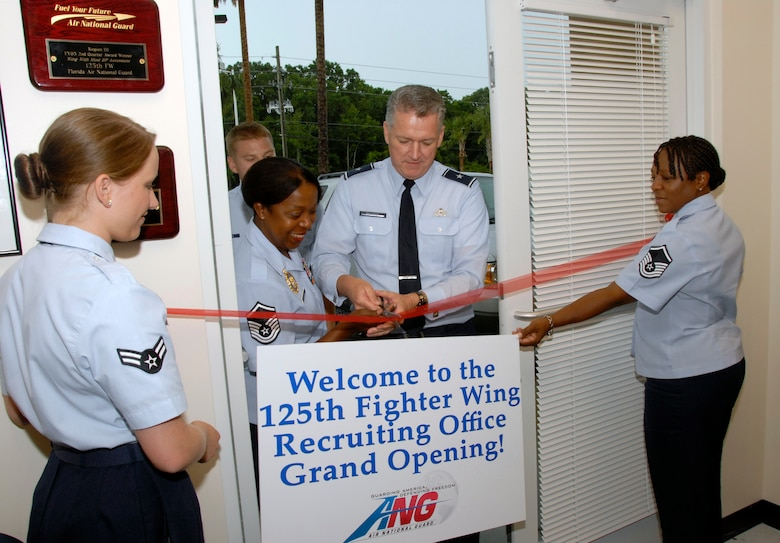 Brig. Gen. Joseph Blaskus, Commander of the Florida Air National Guard, participates in a ribbon cutting ceremony on July 8, 2009, to celebrate the opening of the first store front Air National Guard recruiting office in the state of Florida.  The office is located in Jacksonville Florida. (Air National Guard Photo by Staff Sgt. Jaclyn Carver)
