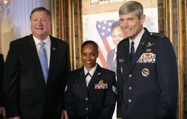 Staff Sgt. MercedesKimble L. Crossland is the 2009 Service Member of the Year for the Air Force. The Army Times Publishing Company and several other businesses sponsor the annual award.  Sergeant Crossland received congratulations from civilians and military representatives including Secretary of the Air Force Michael B. Donley and Air Force Chief of Staff Gen. Norton Schwartz.  The servicemembers were recognized at a special ceremony July 9 on Capitol Hill.  (U.S. Air Force photo/Master Sgt. Paul Dean)