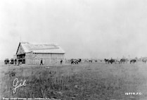 "The Wright's hangar or ""airplane shed,"" in 1910 on the site of the present Maxwell Field, Montgomery, Alabama"