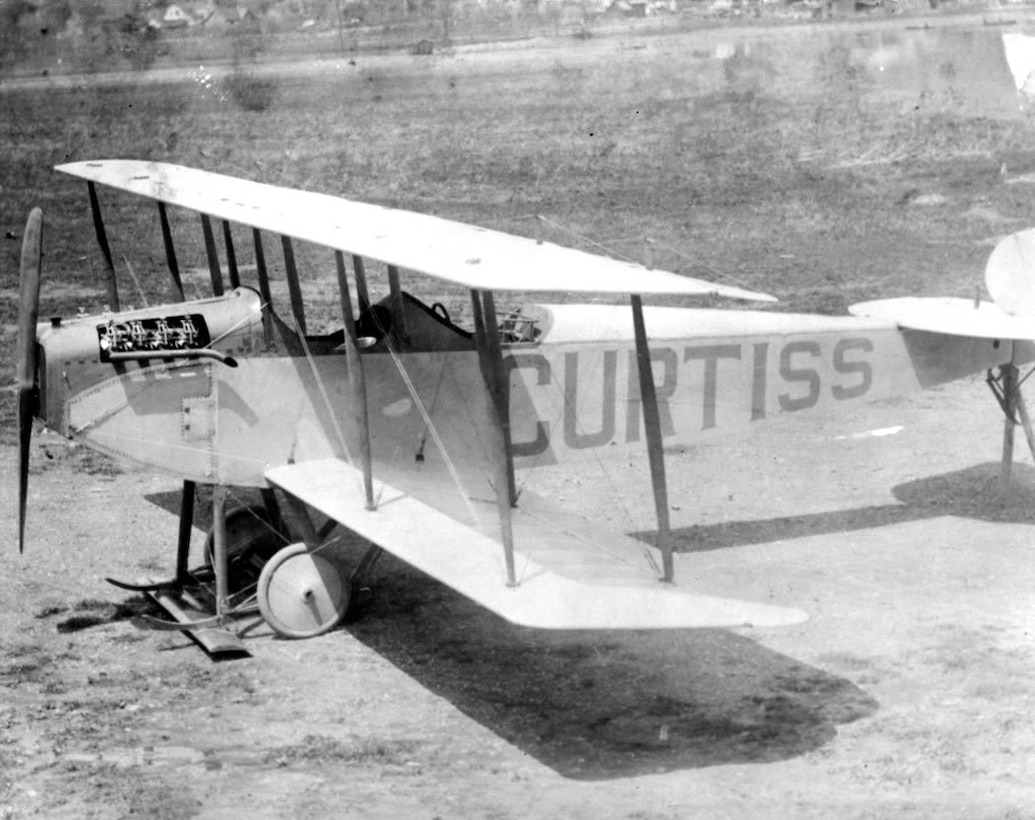 First Curtiss Jenny type at Hammondsport, N. Y. factory before delivery to Army