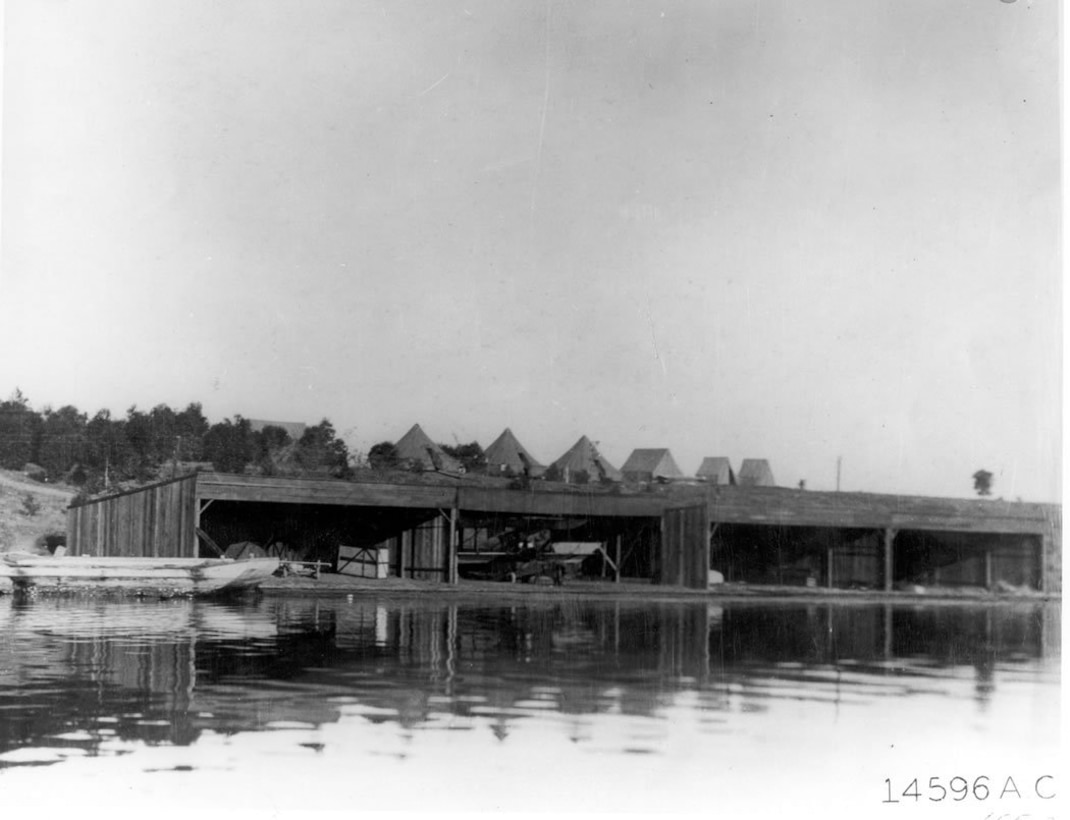 Flying boat hangers at North Island, 1913