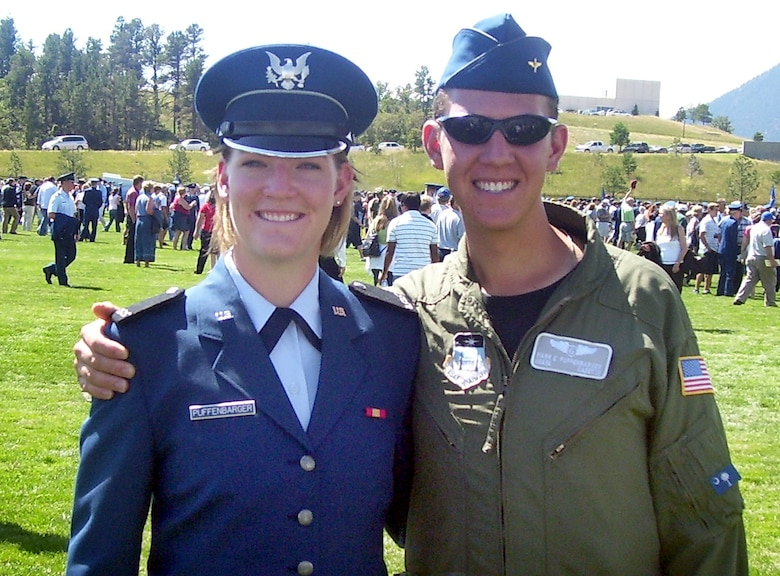 Cancer survivor Cadet 1st Class Mark Puffenbarger joins his underclassman sister, Haley, for a photo. Cadet Puffenbarger survived a bout of lymphoma in 2008. (U.S. Air Force photo)