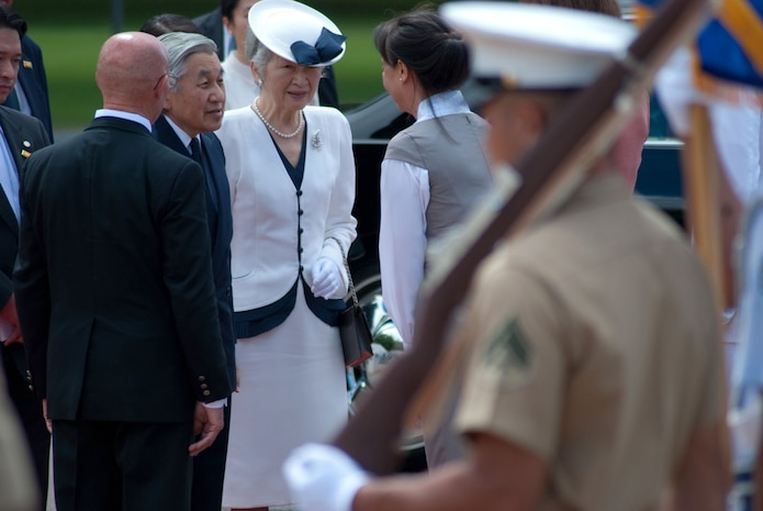HONOLULU - Japanese Emperor Akihito and Empress Michiko arrive at the National Memorial Cemetery of the Pacific (Punchbowl) July 15. During their stay, the imperial couple paid tribute to fallen service members with a wreath laying ceremony. Their July 14 arrival marks their first visit in more than 50 years. (Official U.S. Marine Corps Photo by Sgt. Juan D. Alfonso)
