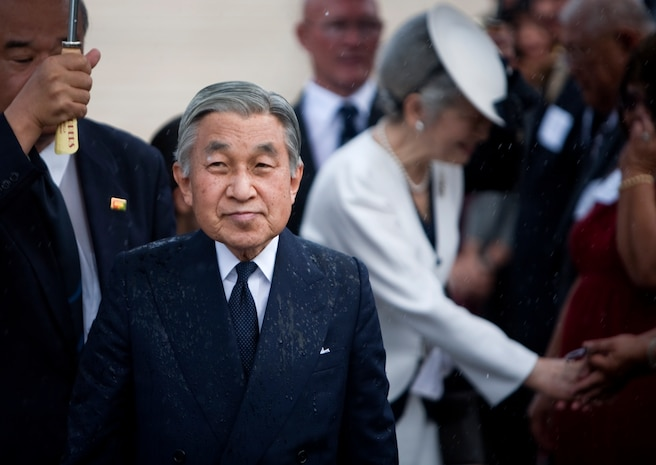 HONOLULU - Japanese Emperor Akihito and Empress Michiko finish greeting dignitaries and prepare to depart the National Memorial Cemetery of the Pacific, July 15. The couple visited Punchbowl Cemetery to lay a wreath and pause for a moment of silence. (Official U.S. Marine Corps photo by Lance Cpl. Achilles Tsantarliotis)(Released)