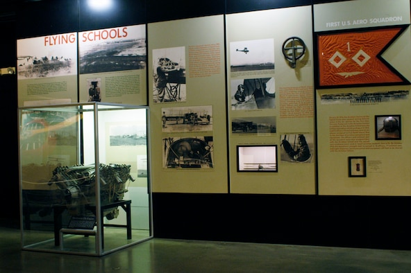 DAYTON, Ohio -- Flying Schools exhibit in the Early Years Gallery at the National Museum of the United States Air Force. (U.S. Air Force photo)